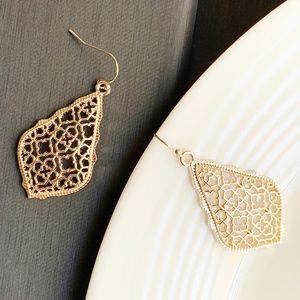 Jewelry - NEW Leaf Filigree Earrings (rose gold)